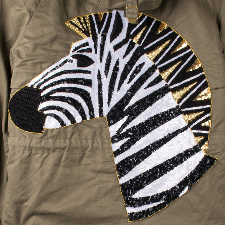 "Army Parka ""Zebra"" - olive (detail application 1)"