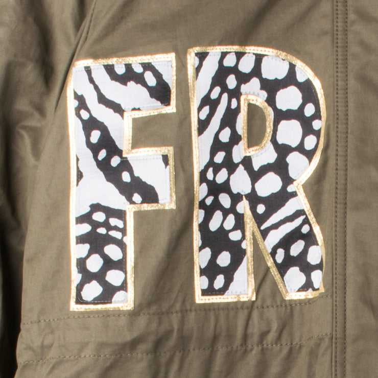 "Army Parka ""Zebra"" - olive (detail application 2)"
