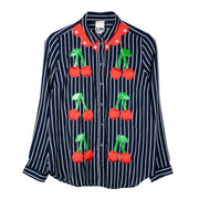 "Blouse ""Cherry Tree"" - navy-white striped"