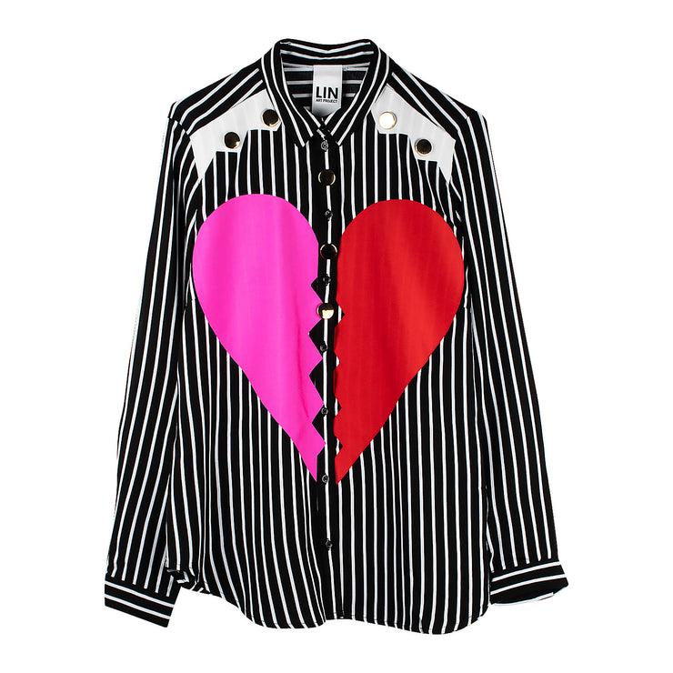 "Blouse ""Heartbreaker"" - black-white striped"
