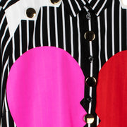 "Blouse ""Heartbreaker"" - black-white striped (detail application)"