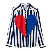 "Blouse ""Heartbreaker"" - blue-white striped"