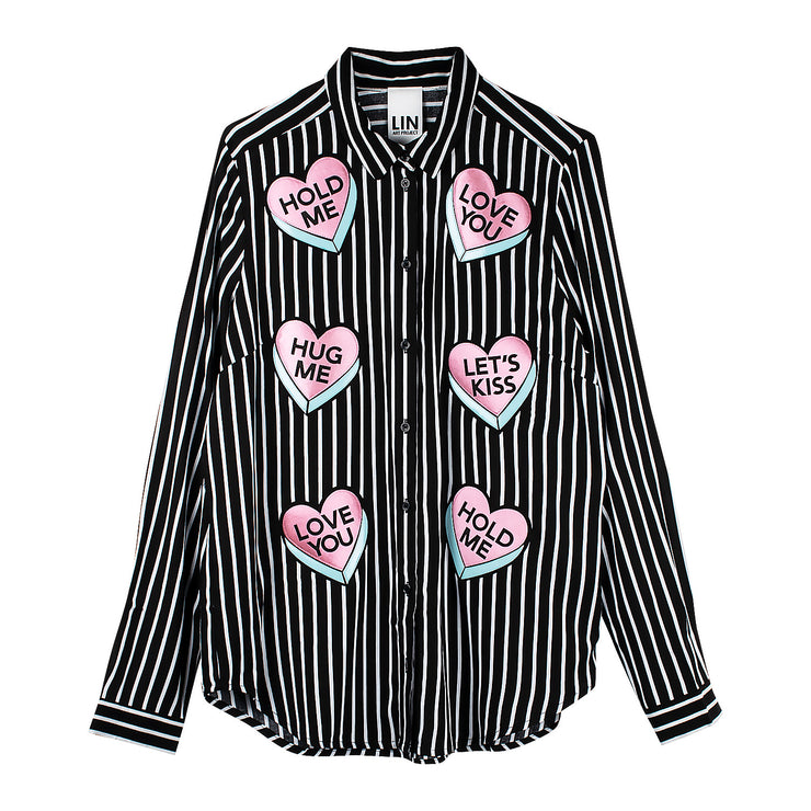 "Blouse ""Hug Me"" - black-white striped"