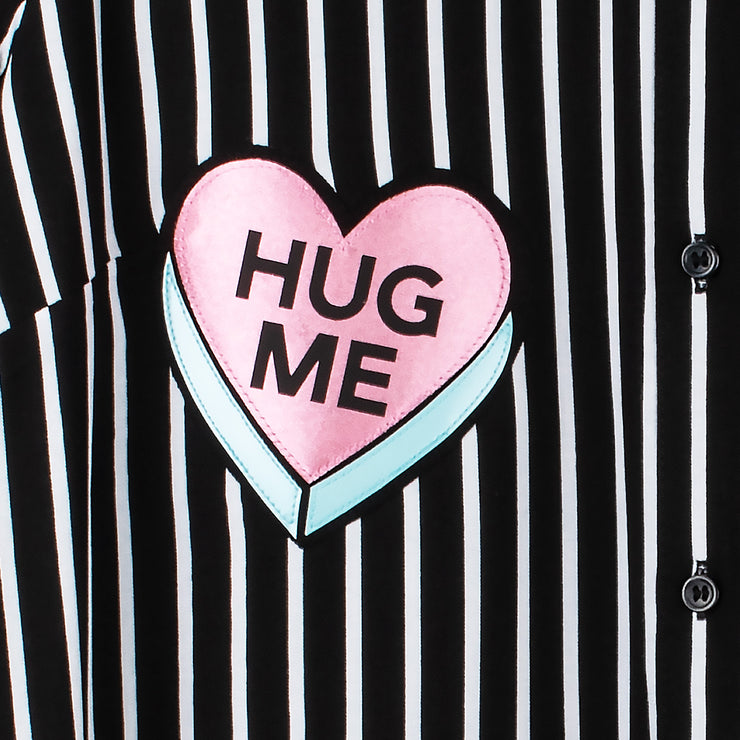 "Blouse ""Hug Me"" - black-white striped (detail application)"