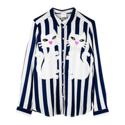 "Blouse ""Kitten"" - blue-white striped"