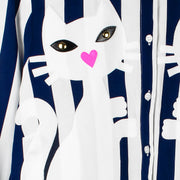 "Blouse ""Kitten"" - blue-white striped (detail application)"