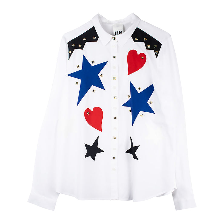 "Blouse ""Stars Hearts"" - white"
