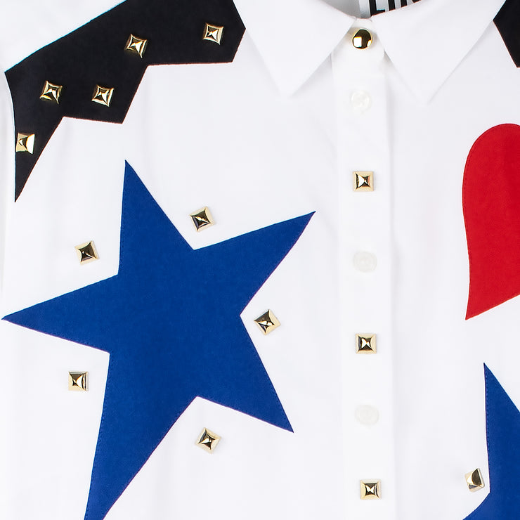 "Blouse ""Stars Hearts"" - white (detail application)"