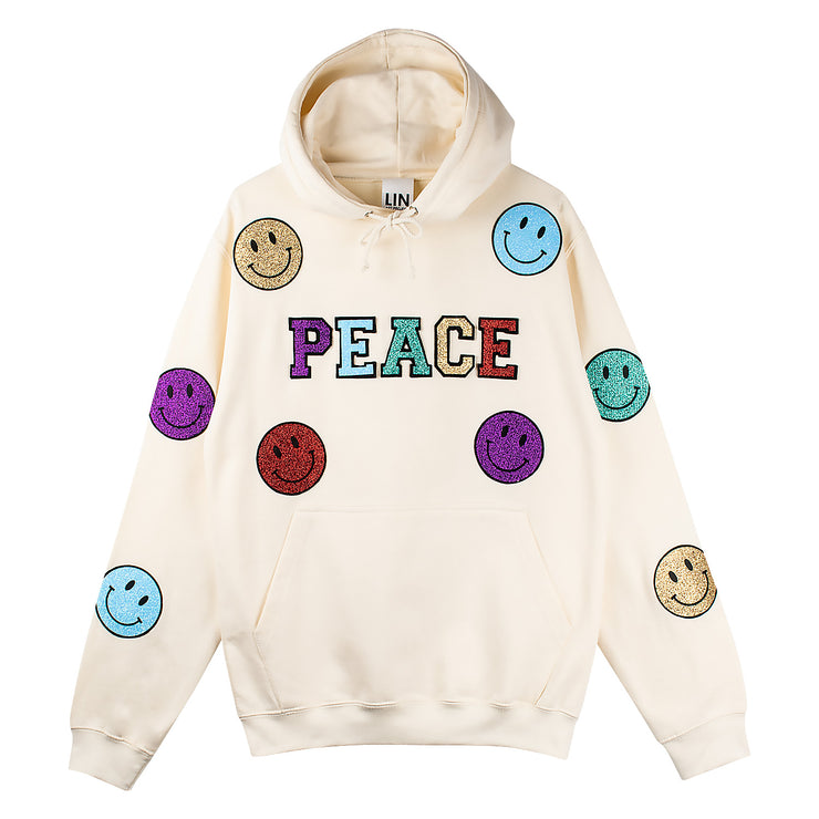 "Hoodie ""Peace Smile"" - creme"
