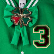 "Jacket ""The Hot 1"" - green/white (detail application 2)"