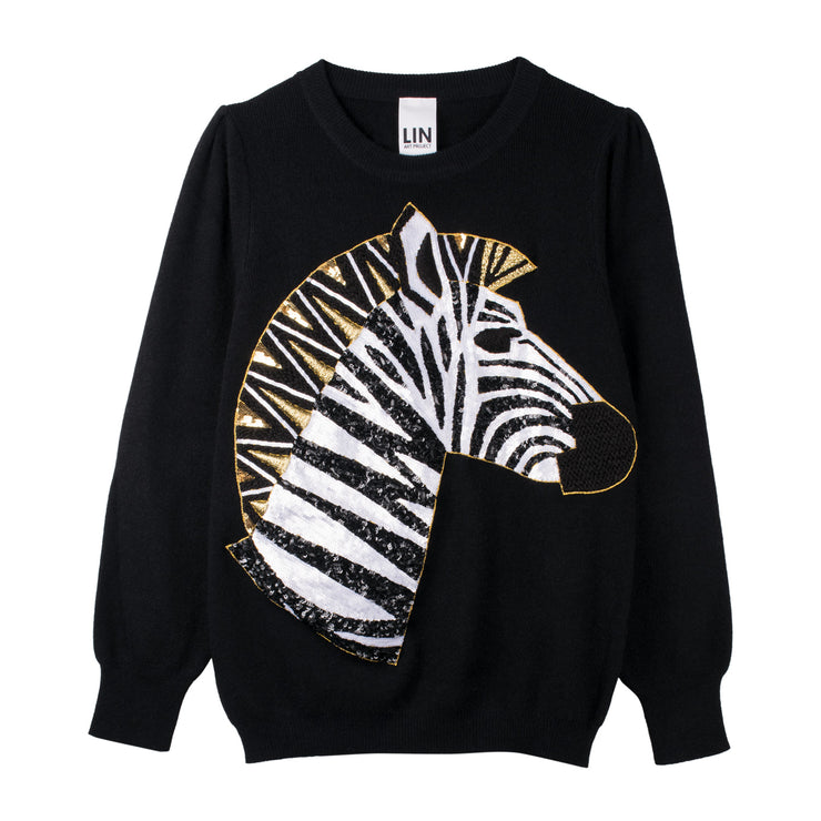 "Long Knit Jumper ""Zebra"" - black"