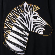 "Long Knit Jumper ""Zebra"" - black (detail application)"