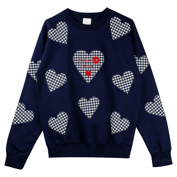 "Long Sweat ""Blue Hearts"" - dark blue"