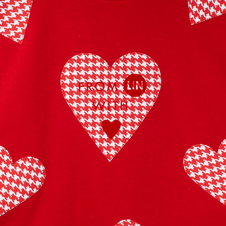 "Long Sweat ""Red Hearts"" - red (detail application)"