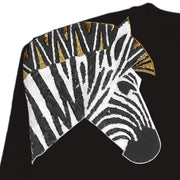 "Oversize Sweat ""Zebra SET"" - black (detail application)"