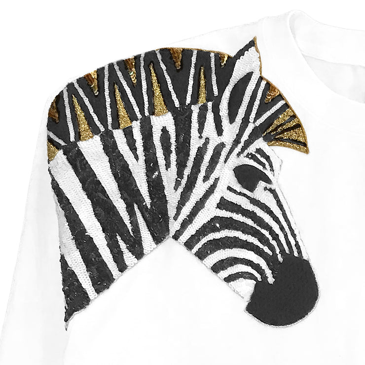 "Oversize Sweat ""Zebra SET"" - white (detail application)"