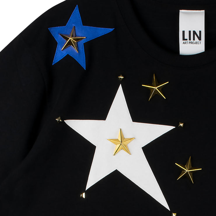 "Oversize Tee ""Stars"" - black (detail application)"