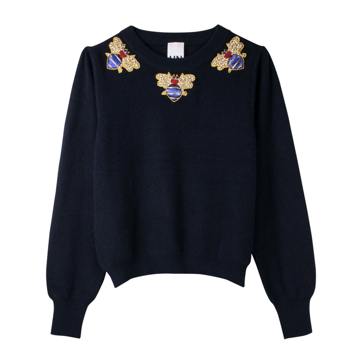 "Short Knit Jumper ""BeeBee"" - blue"