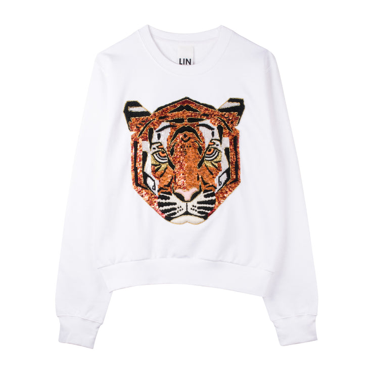 "Sweatshirt ""Tiger"" - white"