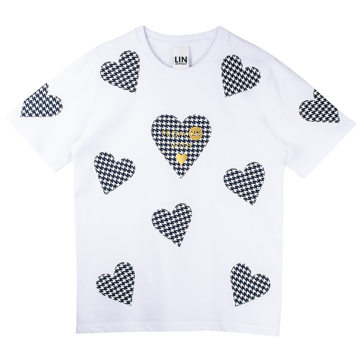"T-Shirt ""Blue Hearts"" - white"