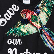 "T-Shirt ""Save our Nature"" - black (detail application)"