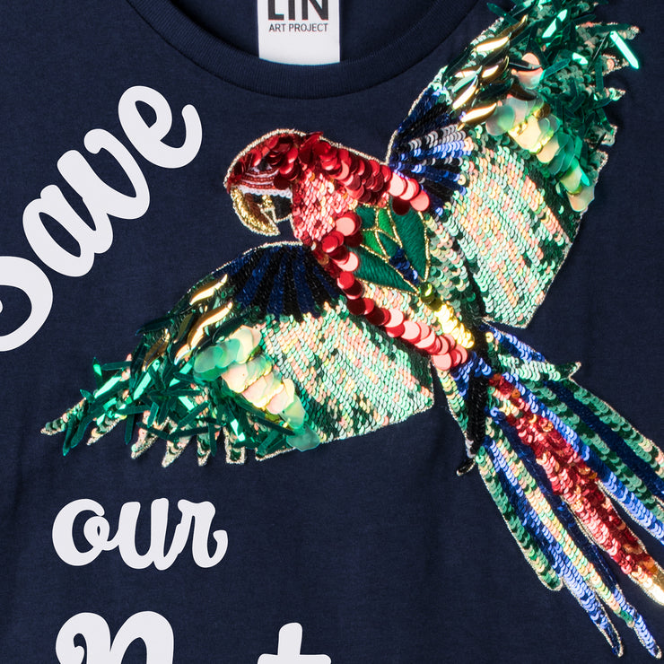 "T-Shirt ""Save our Nature"" - blue (detail application)"