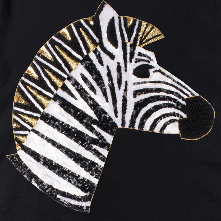 "T-Shirt ""Zebra"" - black (detail application)"