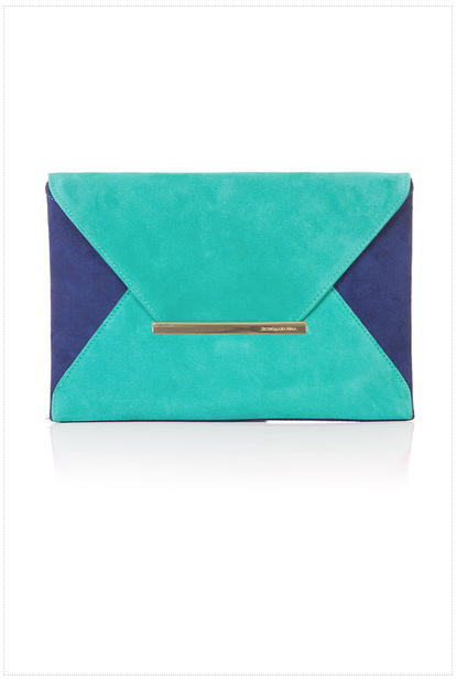 bcbg, envelope, clutch, color block