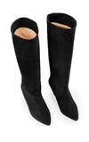 Ivy Lee Rita Knee High Boots in Black Split Leather