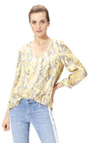 Rich & Royal Yellow Snake Print Peplum Blouse