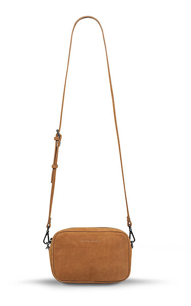 Status Anxiety Plunder Crossbody Bag in Tan Nubuck