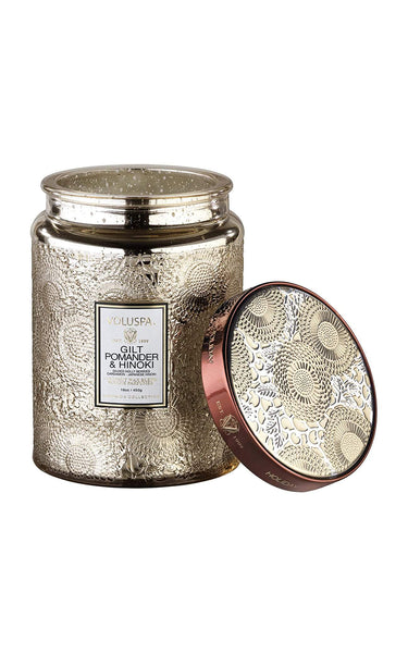 Voluspa Gilt Pomander & Hinoki 100hr Candle