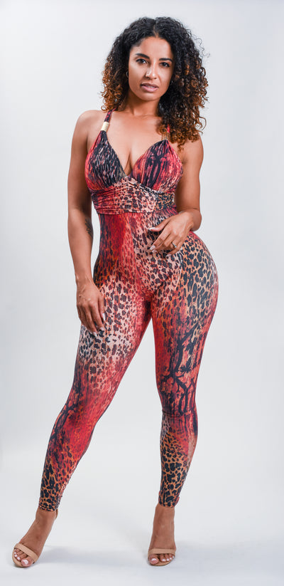 Red Panther Jumpsuit - La Alemana Collection