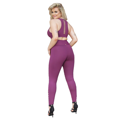 Diamond Shaped Cut-Out Leggings - Plum