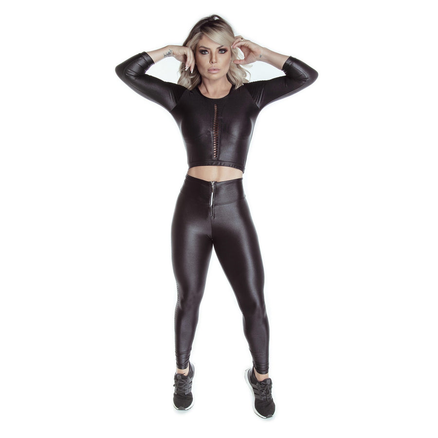 Long Sleeve Cropped Top & Zipper Glossy Leggings