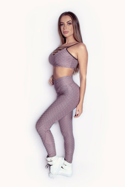 DUSTY ROSE BUTT LIFT  RUCHED LEGGINGS- SOLD OUT
