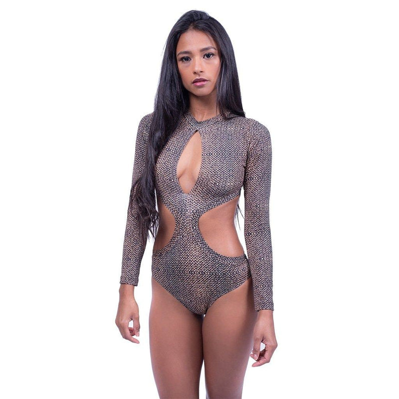 Chain Print Key-Hole Cut Out Bodysuit