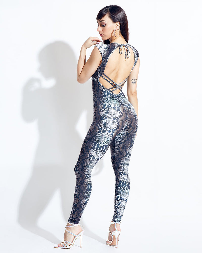 Grey Python Bodysuit - Sara Panero Collection