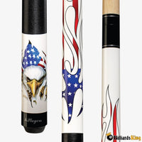 Players D-PEG Patriotic White Eagle American Flag Pool Cue Stick - Billiards King