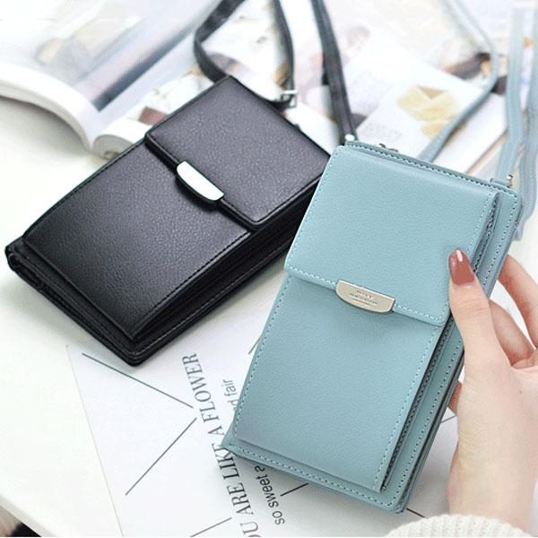 Women Color PU Leather Phone Bag Wallet Crossbody Bag Purse