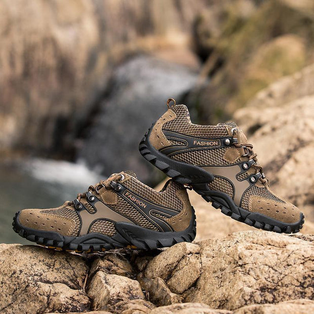 Men Breathable Suede Non-slip Lace Up Outdoor Hiking Sneakers