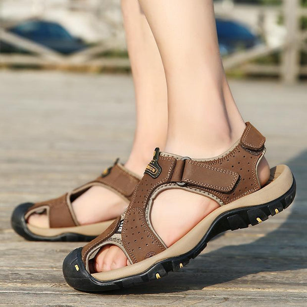 Men Anti-collision Toe Adjustable Heel Strap Outdoor Leather Sandals