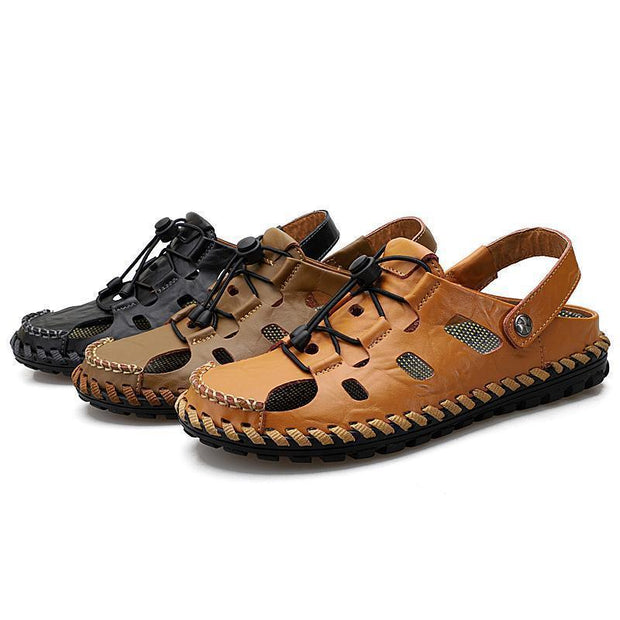 Men Large Size Hand Stitching Hollow Out Slipper Causal Beach Sandals