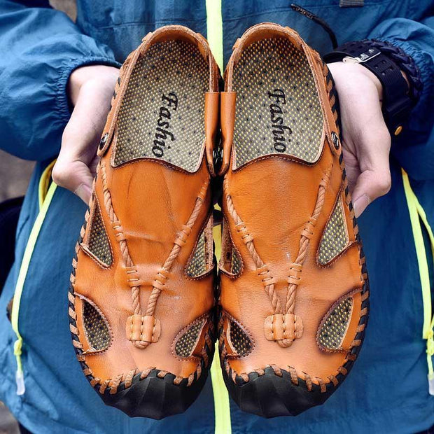 Men's Sandals Fashion Leather Slippers Large Size Beach Shoes 133483