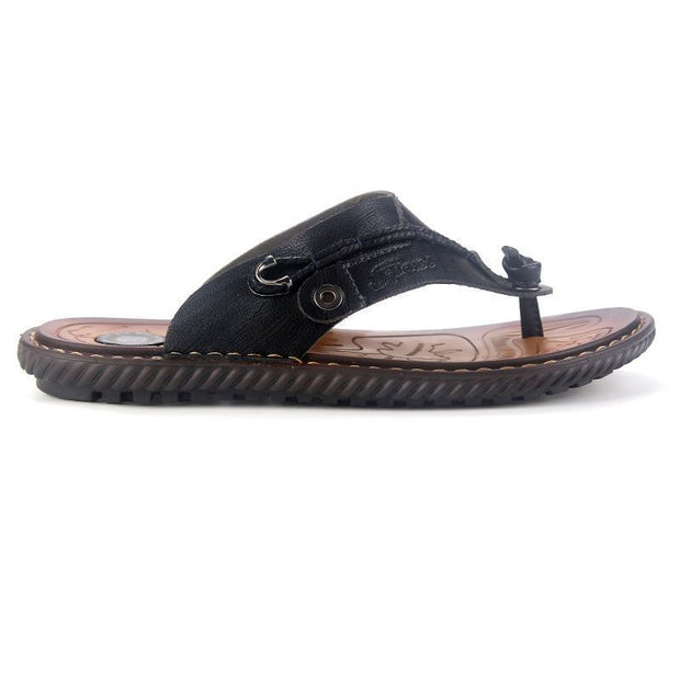 Men's Beach Slippers Outdoor Flip Flops Rubber Slippers Comfortable Leather Sandals Summer 133540