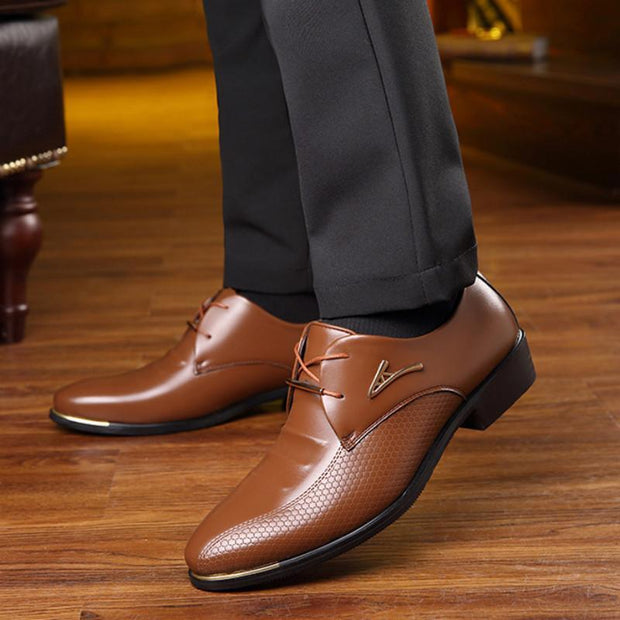 Men's shoes large size business dress casual shoes trend British men's belt hair 133351