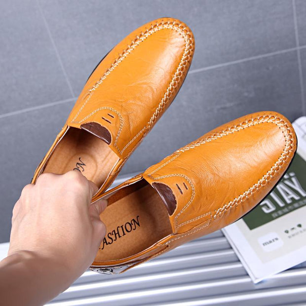 Men Pure Color Comfy Soft Sole Slip On Leather Casual Loafers