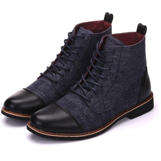 Men's Casual Canvas Leather Booties