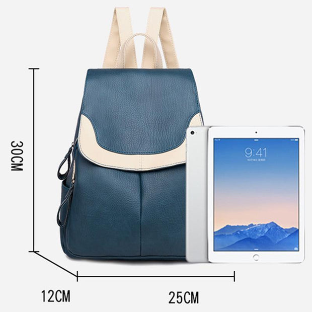 Women's Tide Korean PU Leather Large Capacity Fashion Simple Travel Backpack
