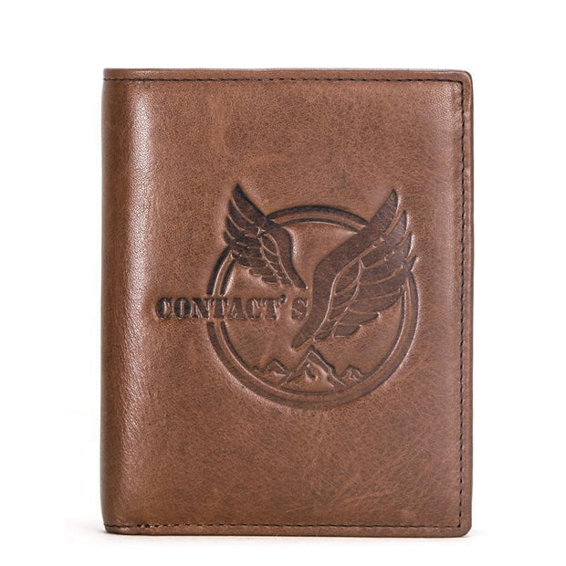Men's leather multi-function three-fold vertical wallet